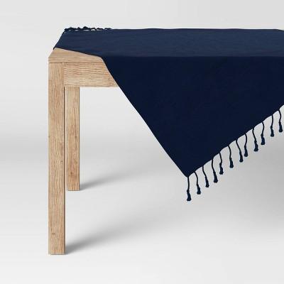 "50"" Cotton Textured Border Table Throw Blue - Threshold™"