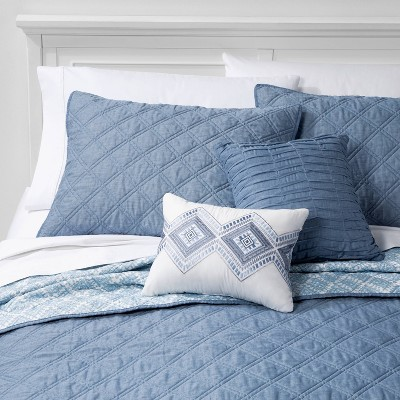 5pc Full/Queen Cole Stitched Chambray Quilt Set Indigo
