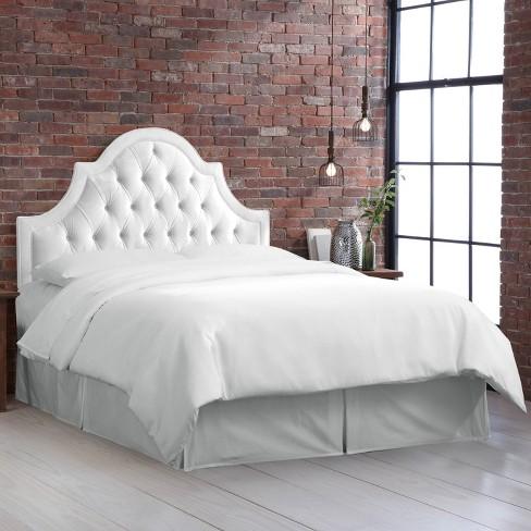 Bella High Arch Tufted Headboard Full Velvet White Skyline Furniture Target