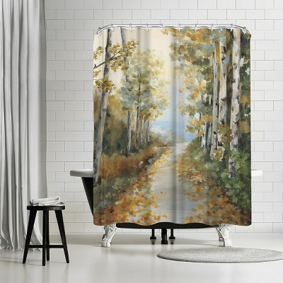 """Americanflat Path In The Forest by Pi Creative Art 71"""" x 74"""" Shower Curtain"""