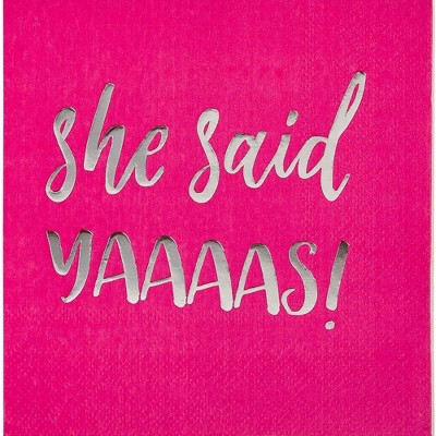 Juvale 50-Pack Hot Pink Disposable Paper Napkins Bachelorette Party Supplies 5 x 5 In