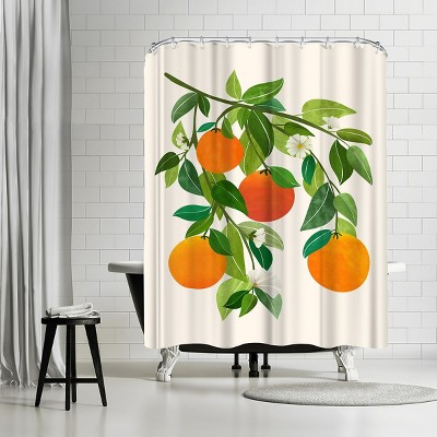 """Americanflat Oranges And Blossoms Ii by Modern Tropical 71"""" x 74"""" Shower Curtain"""