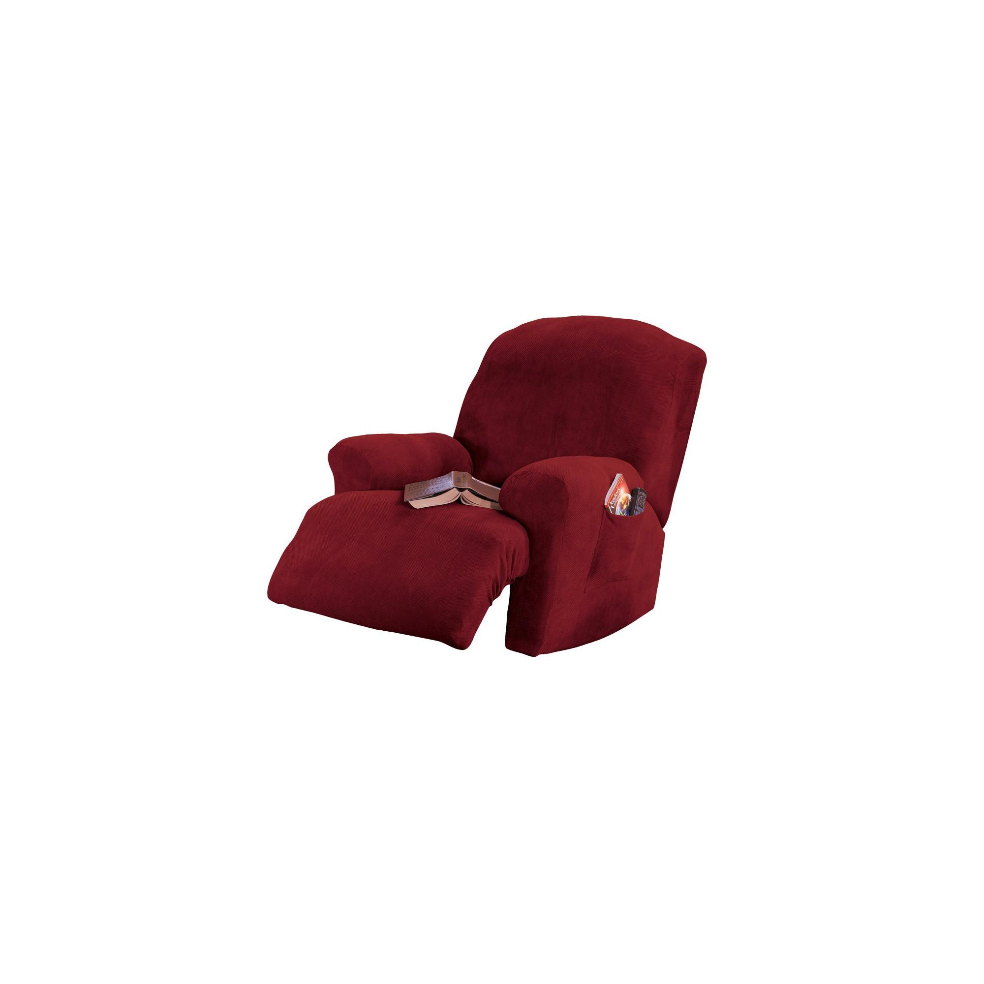 Garnet Stretch Pique Recliner Slip - Sure Fit, Red