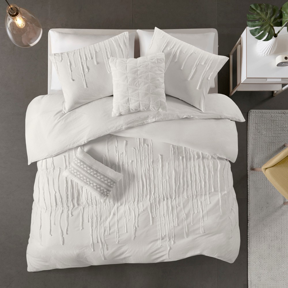 4pc Twin/Twin XL Makenna Cotton Comforter Set Ivory Promos