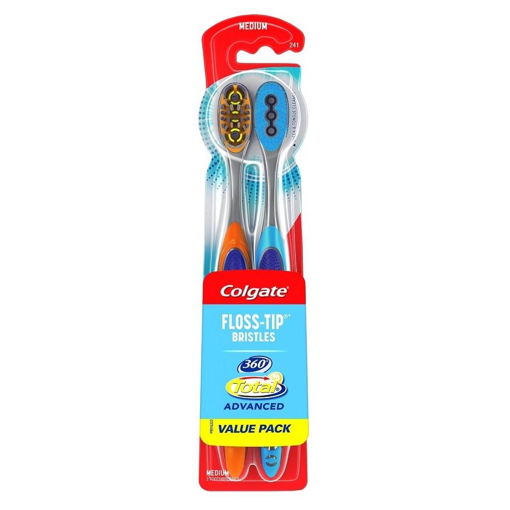 Image of Colgate 360 Total Advanced Floss-Tip Bristles Toothbrush Medium - 2ct