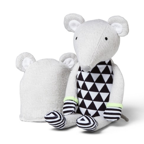 Plush and Hat Mouse - Cloud Island™ Gray - image 1 of 1