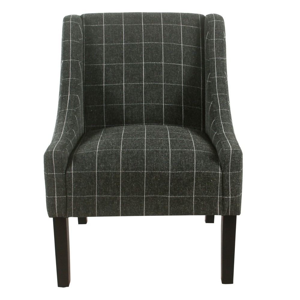 Homepop Modern Swoop Arm Accent Chair Black Windowpane