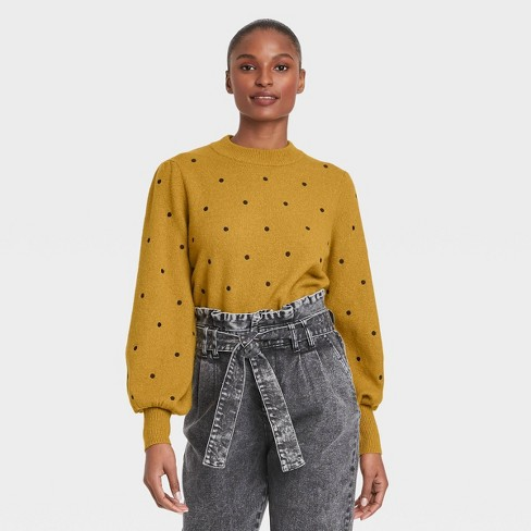 Women's Polka Dot Balloon Sleeve Crewneck Pullover Sweater - Who What Wear™ - image 1 of 3