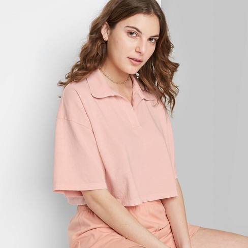 Women's Short Sleeve Boxy Cropped Polo T-Shirt - Wild Fable™ - image 1 of 3