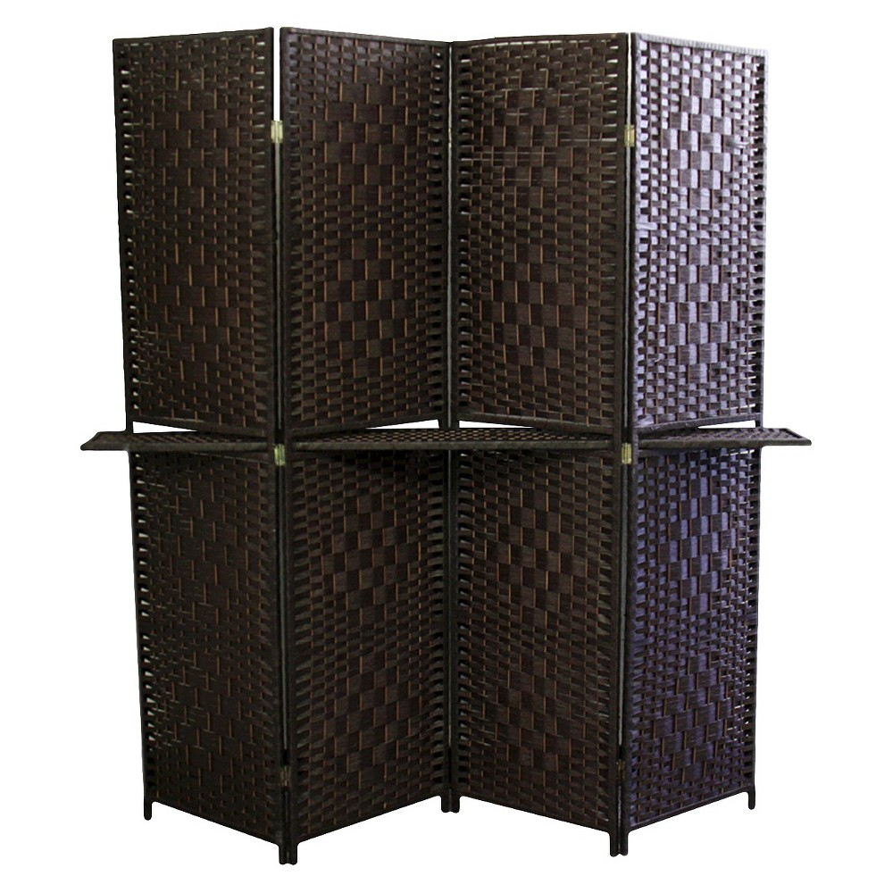 4 Panel Paper Straw Weave Screen With 63 L Shelving Ore International
