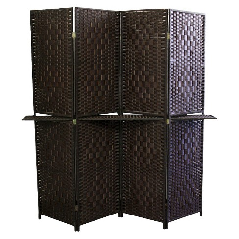 "4 Panel Paper Straw Weave Screen with 63"" L Shelving - Ore International - image 1 of 1"