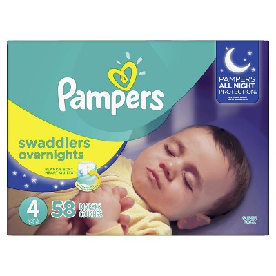Pampers Swaddlers Overnight Diapers - Size 4 (58ct)