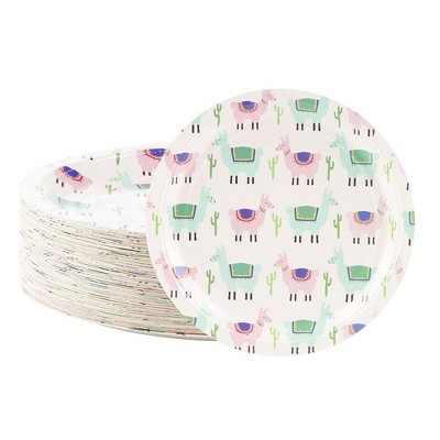 """Blue Panda 80 Counts Llama Disposable Paper Plates 9"""" for Kids Birthday Baby Showers Party Supplies & Decorations"""