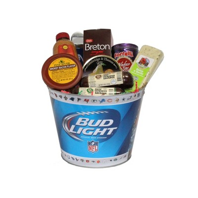 """Northlight 9pc Blue and White Bud Light Beer Bucket with Goodies 20"""""""