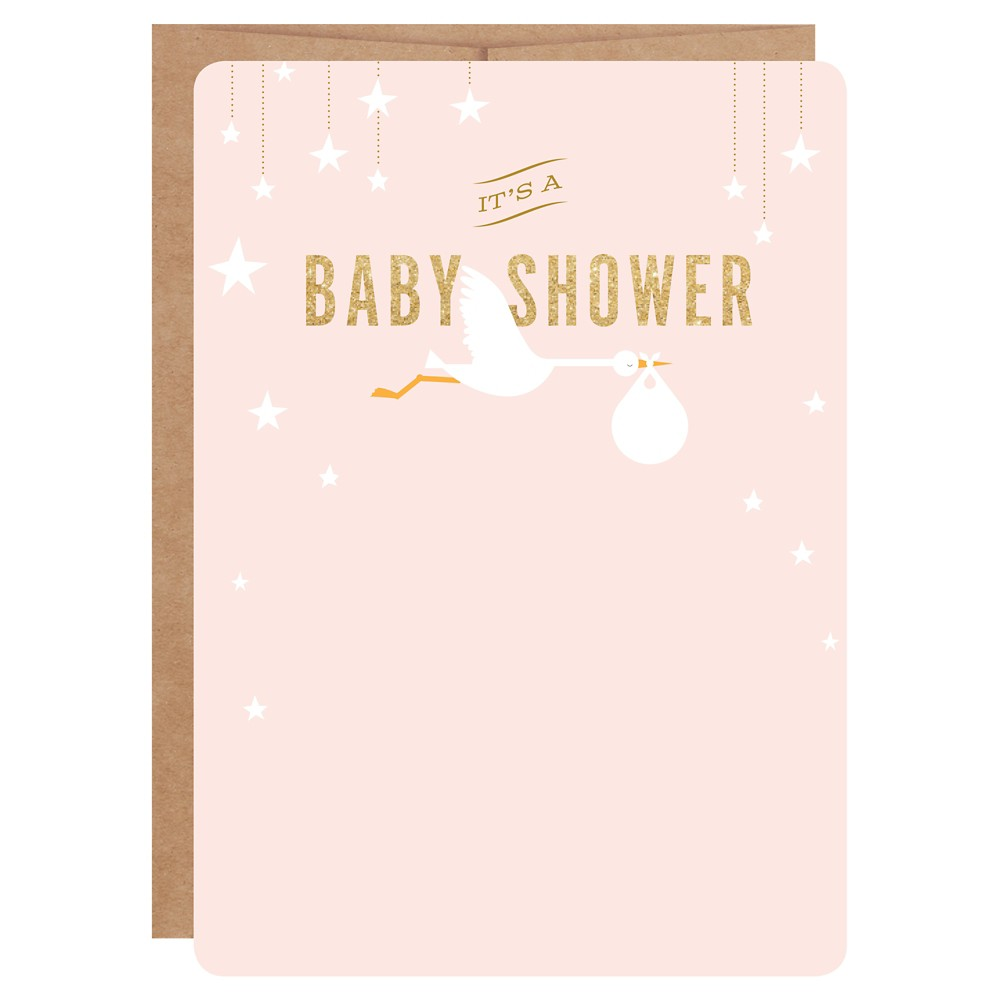 Image of Pink Stork Print-on Baby Shower Invitations - 12ct