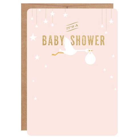 12ct Baby Shower Invitations Stork Print On