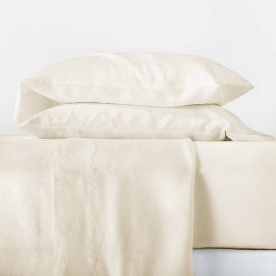 Queen 100% Linen Solid Sheet Set Natural - Casaluna™