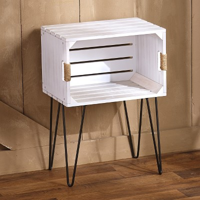 Lakeside Rustic Wooden Crate End Table with Jute Wrapped Handles