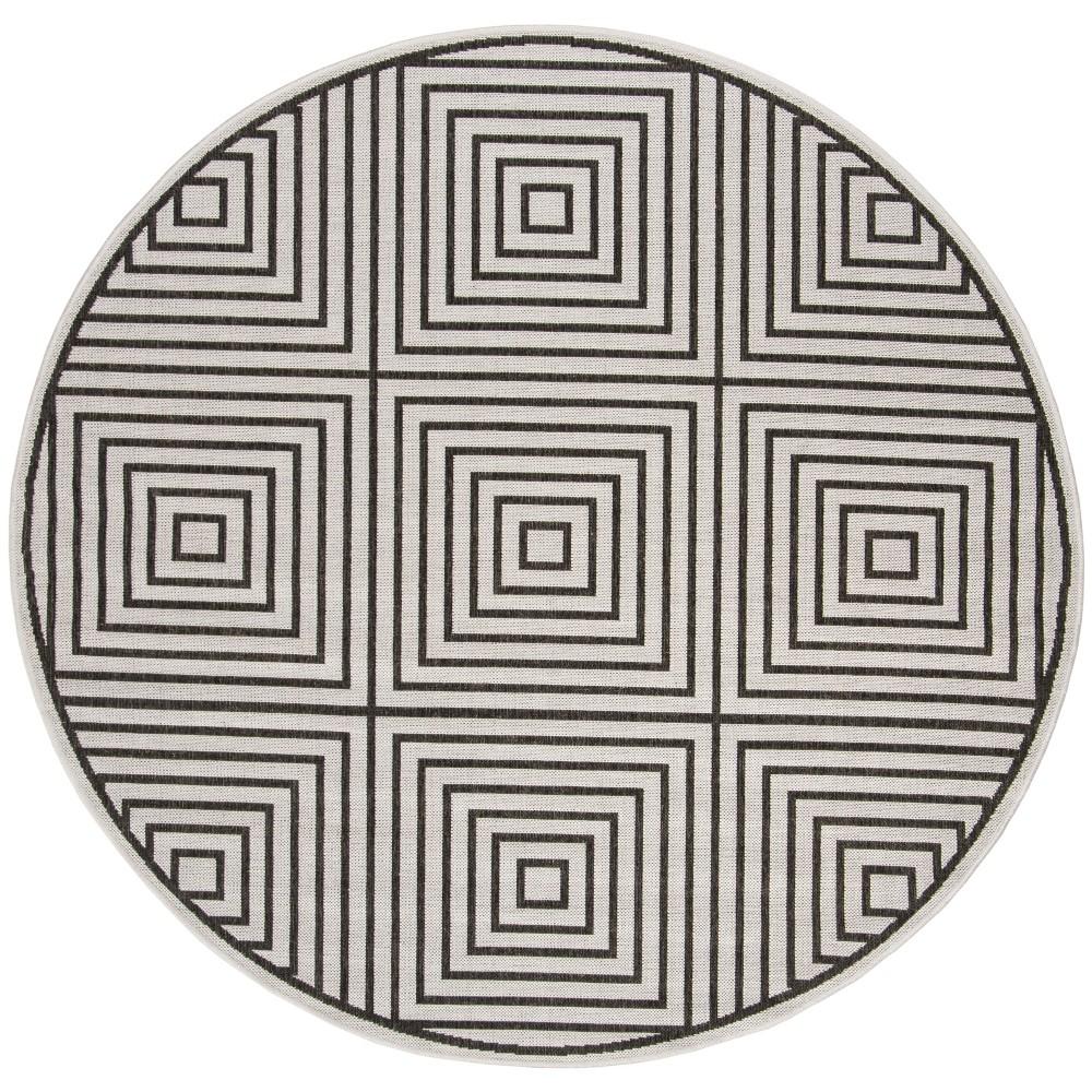 67 Geometric Loomed Round Area Rug Light Gray/Charcoal - Safavieh Top