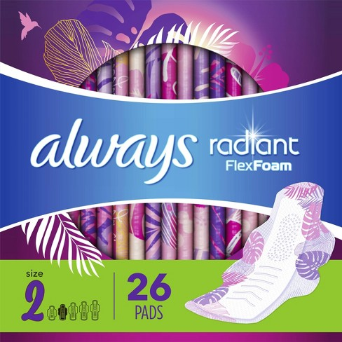 Always Radiant FlexFoam Pads for Women Heavy Flow Absorbency with Wings - Scented - Size 2 - 26ct - image 1 of 4