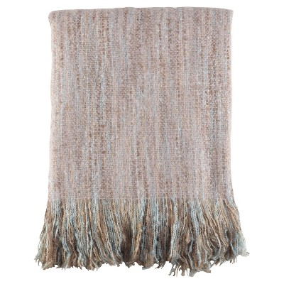 Light Brown Fringe Hem Faux Throw Blankets (50 x60 )- Saro Lifestyle®
