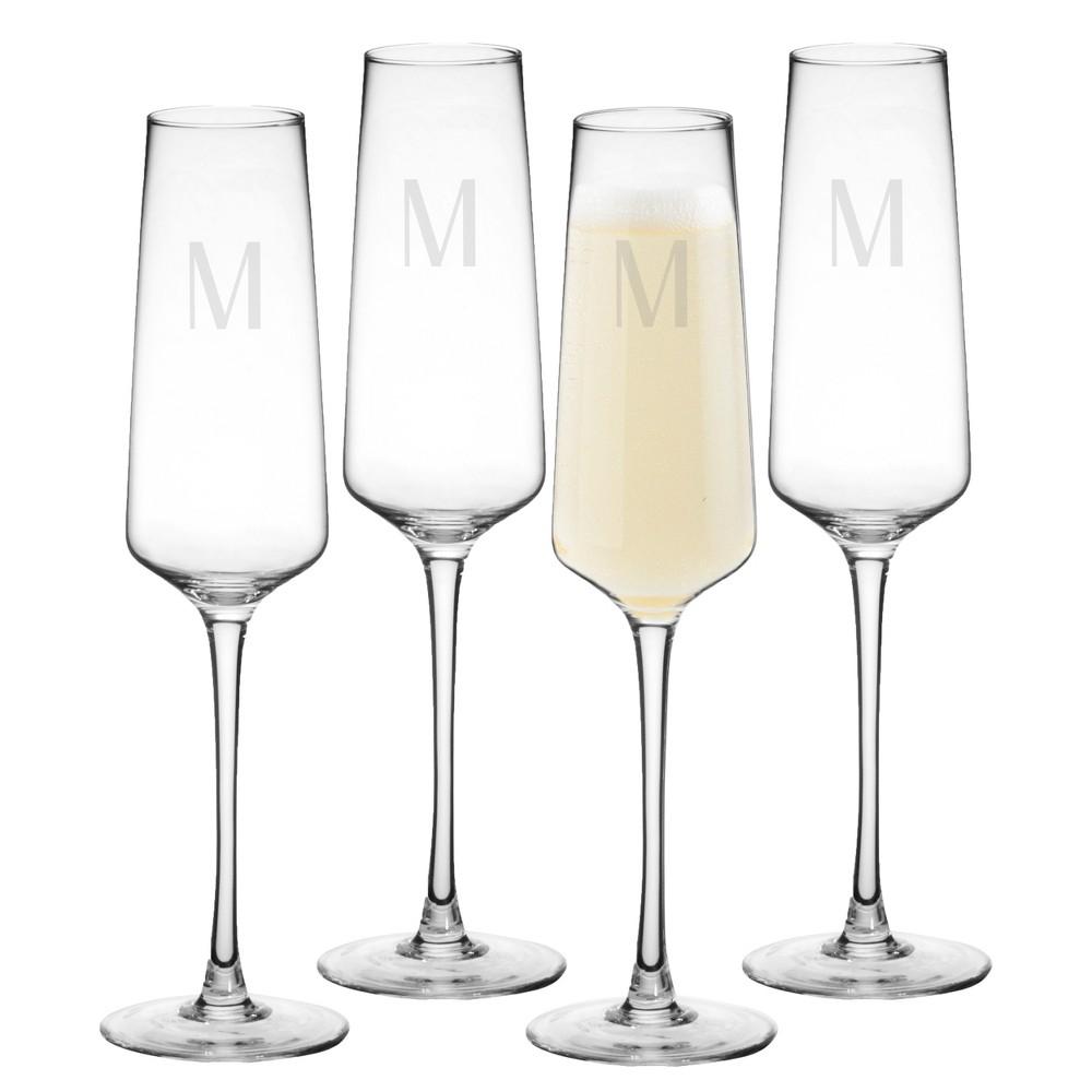 9.5oz 4pk Monogram Estate Champagne Glasses M - Cathy's Concepts, Clear