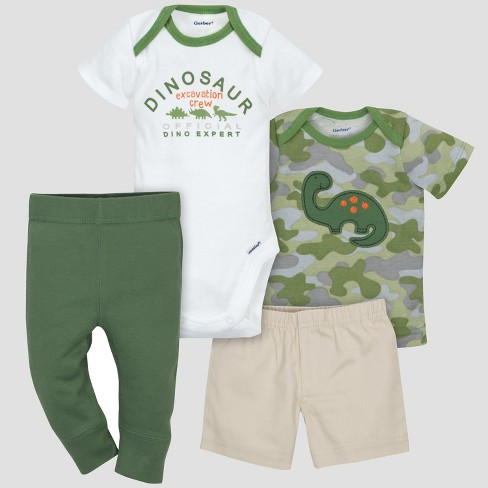 Gerber® Baby Boys' 4pc Dino Bodysuit, Shorts, Shirt and Pant Set - Green 6-9M - image 1 of 4