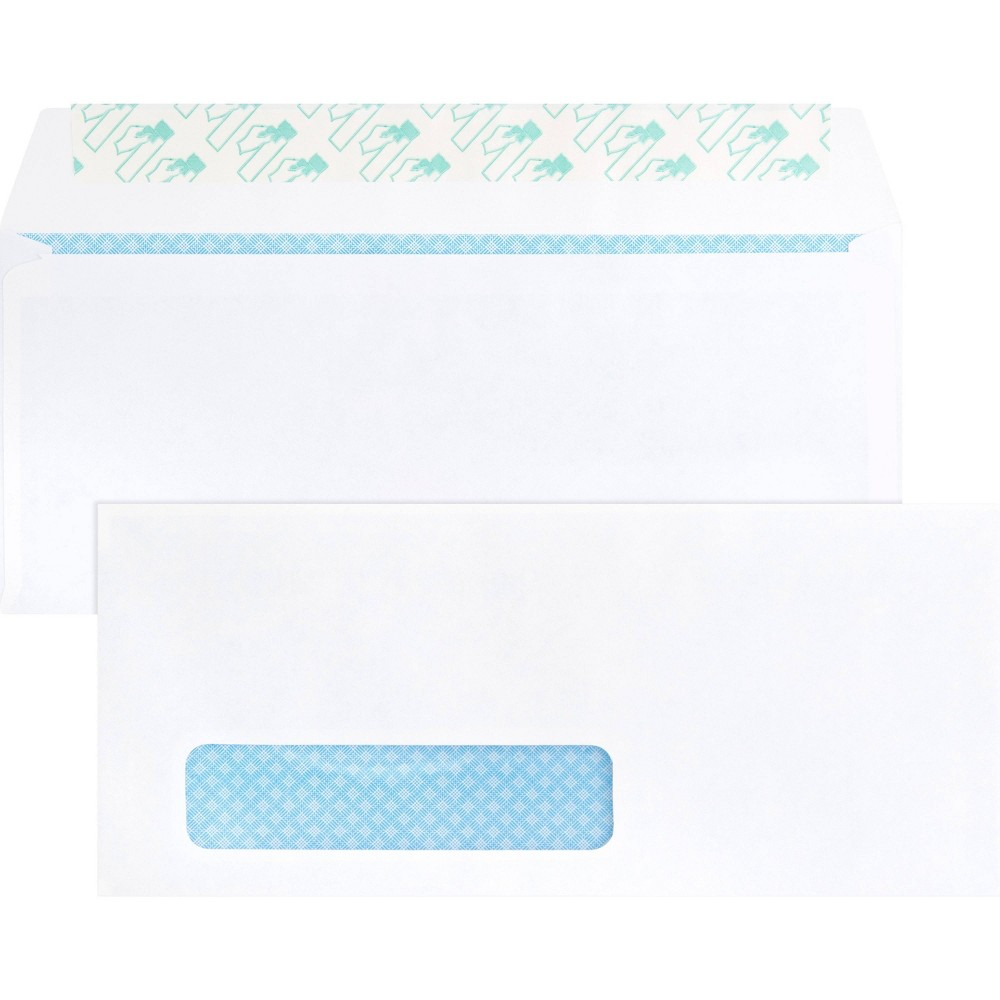 Image of Business Source 500ct #10 Peel & Seal Security Tint Window Envelopes -White