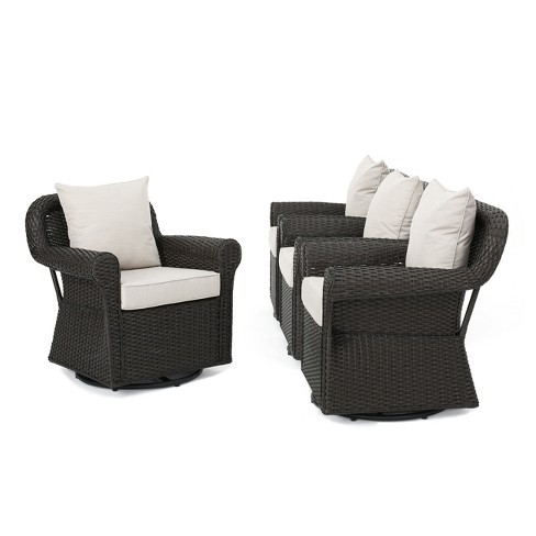 Amaya 4pc All-Weather Wicker Patio Swivel Rocking Chairs - Dark Brown - Christopher Knight Home - image 1 of 4