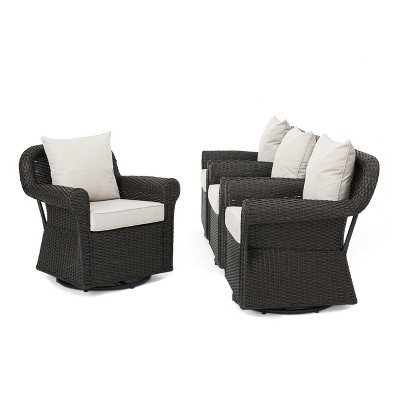 Amaya 4pc All Weather Wicker Patio Swivel Rocking Chairs   Dark Brown    Christopher Knight Home