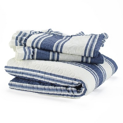 Lakeside Striped Farmhouse Bedspread Set with Pillow Shams