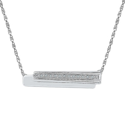 Diamond Accent White Diamond Prong Set Bar Necklace in Sterling Silver (IJ-I2-I3) - image 1 of 1