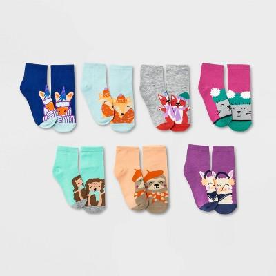 Girls' 7pk Winter Critter Ankle Socks - Cat & Jack™