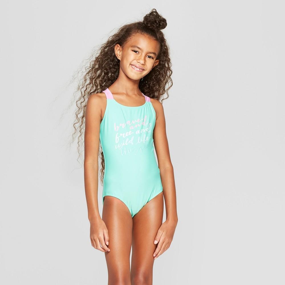 Girls' Brave the Waves One Piece Swimsuit Set - Cat & Jack Aqua S, Blue