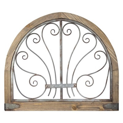 "28"" x 24"" Rustic Arched Wood and Metal Wall Decor Brown - American Art Decor"
