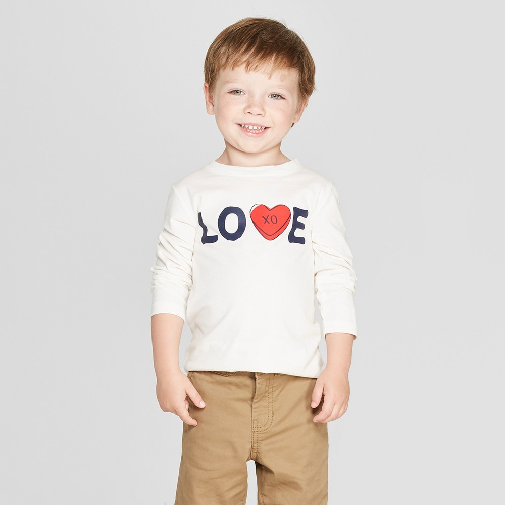 Toddler Boys' Love Graphic Long Sleeve T-Shirt - Cat & Jack Cream 5T, White