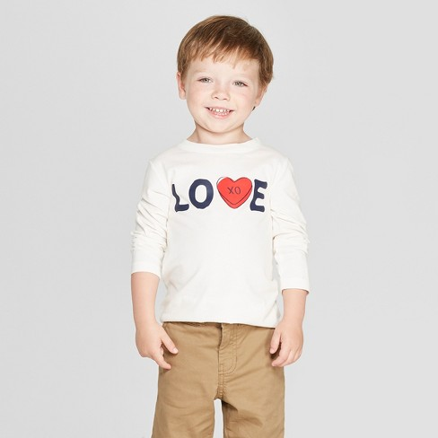 Toddler Boys' Love Graphic Long Sleeve T-Shirt - Cat & Jack™ Cream - image 1 of 3