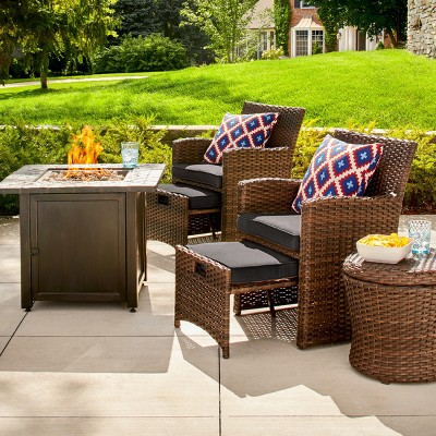 Halsted 6pc Wicker Patio Fire Chat Set - Charcoal - Threshold™