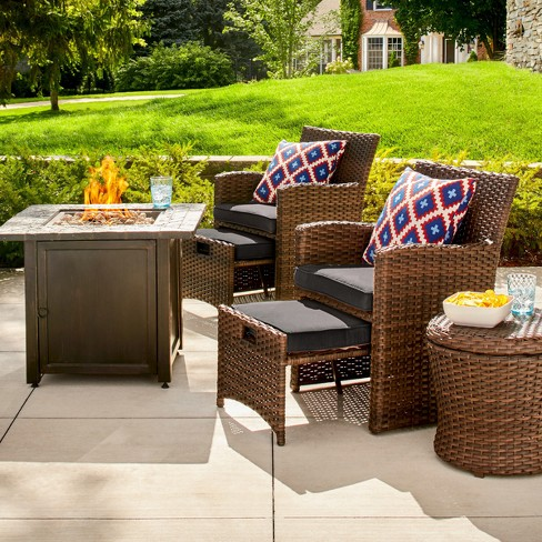 Halsted 6pc Wicker Patio Fire Chat Set - Threshold™ - image 1 of 4