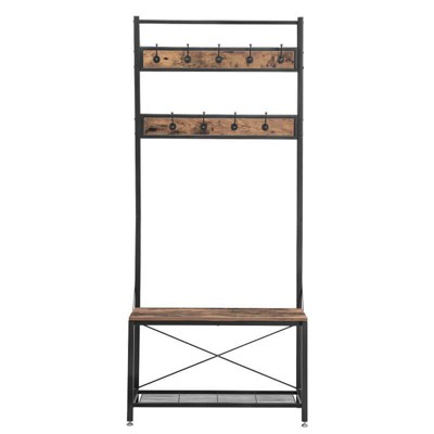 Industrial Wood and Metal Coat Rack with Shoe Bench Black/Brown - Benzara