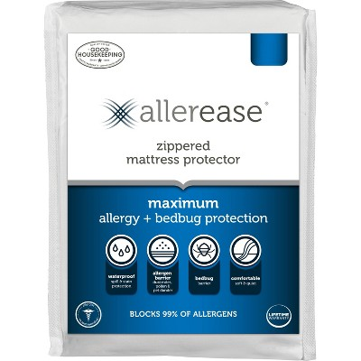 Queen Maximum Bed Bug and Allergy Mattress Protector White - AllerEase
