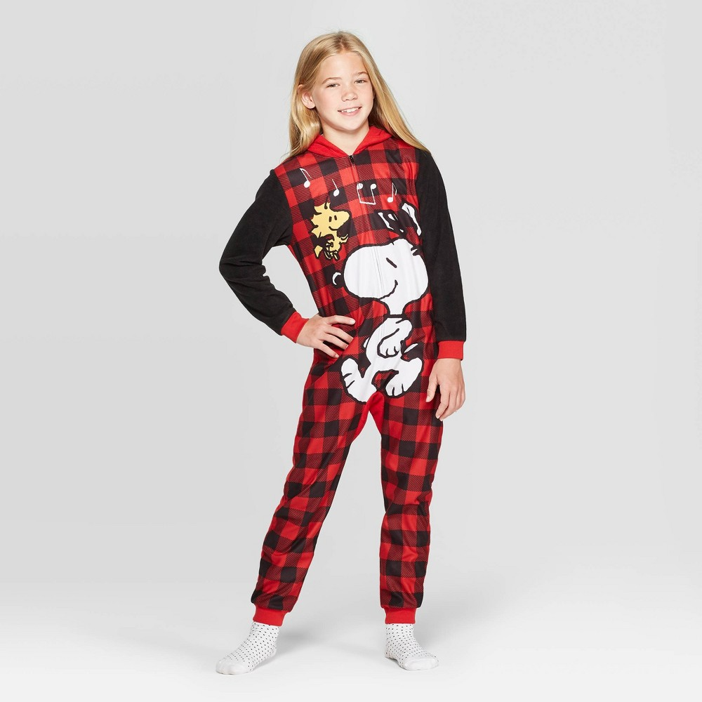 Image of Girls' Snoopy Hooded Union Suit - Red S, Girl's, Size: Small
