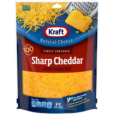 Kraft Natural Finely Shredded Sharp Cheddar - 8oz