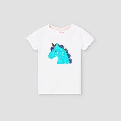 Girls' Flip Sequin Unicorn Short Sleeve T-Shirt - Cat & Jack™ White