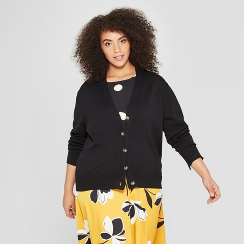 98bcf3ab6d2 Women s Plus Size Long Sleeve V-Neck Wide Placket Cardigan - Who What Wear™
