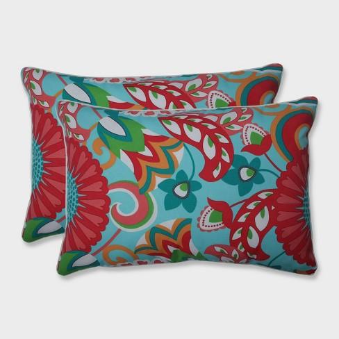 2pk Oversize Sophia Rectangular Throw Pillows Green - Pillow Perfect - image 1 of 2
