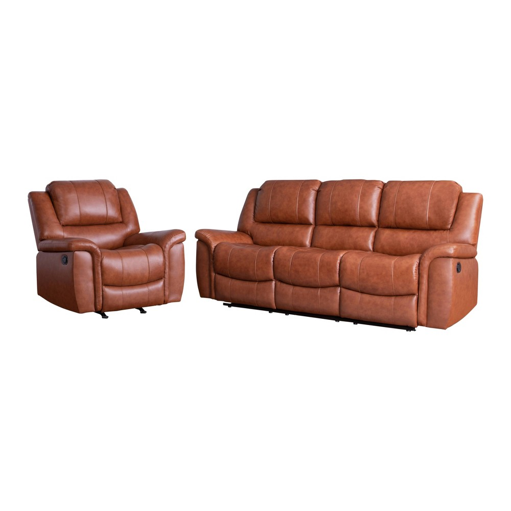 Image of 2pc Joel Top Grain Leather Reclining Sofa & Armchair Set Camel - Abbyson Living