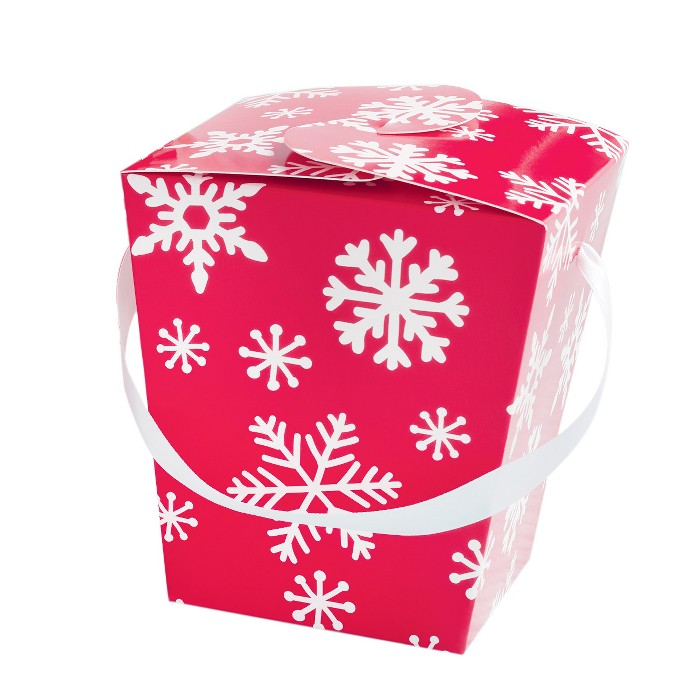 5ct Take Out Box - red snowflake Gift Box White/Gold - Spritz™ - image 1 of 1