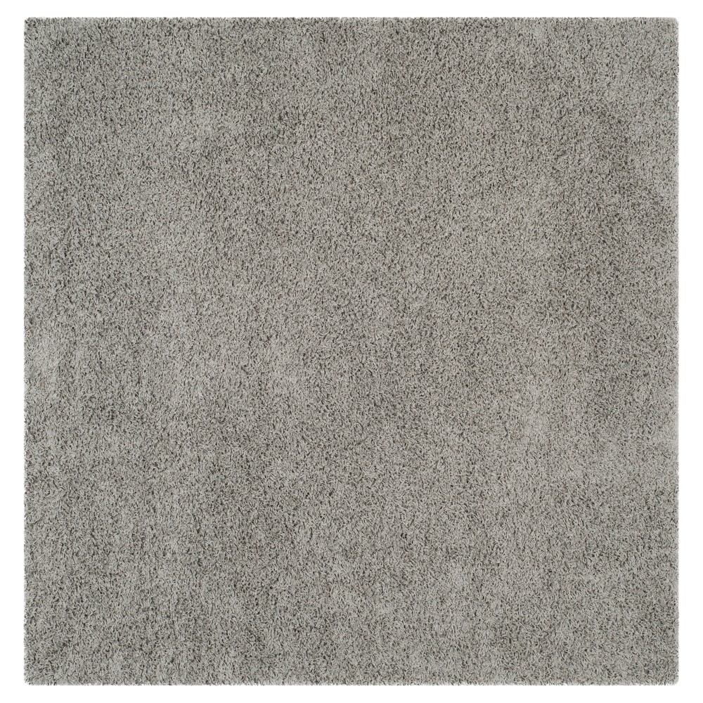 Light Gray Solid Loomed Square Area Rug - (6'7