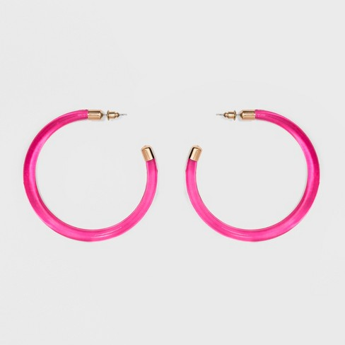 61dae37f5318c Thick Large Open Trans Hoop Earrings - A New Day™ Fuchsia